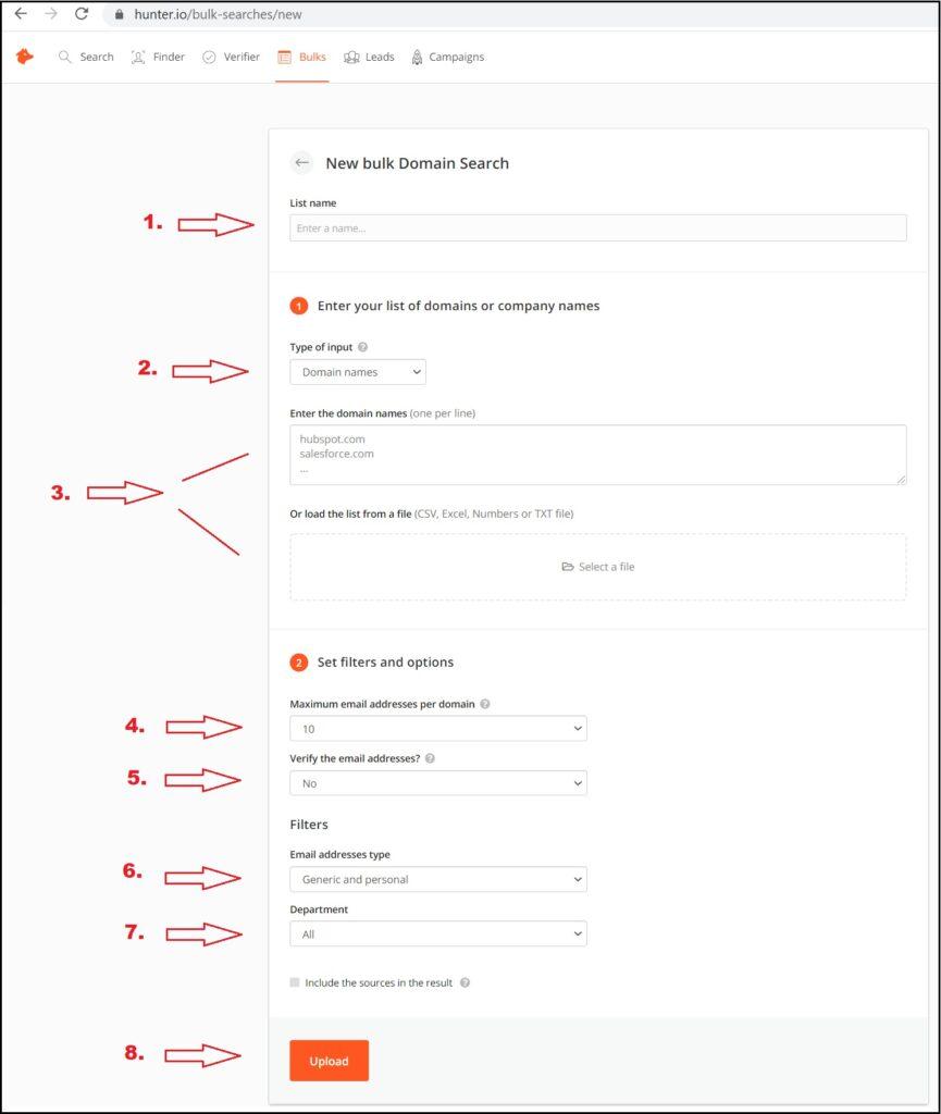 bulk search - domain search