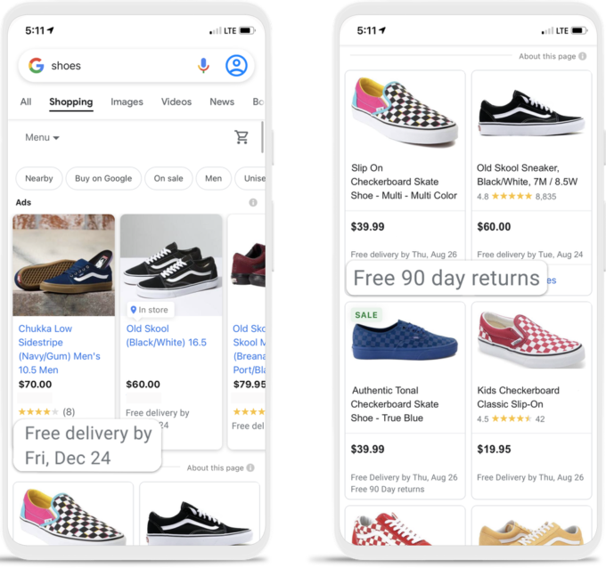 New Shipping and Return Annotations in Search Results in Google Search 13